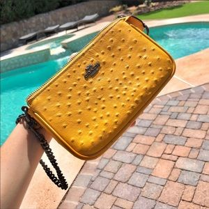 Coach Large Ostrich Wristlet 19 Mustard Yellow